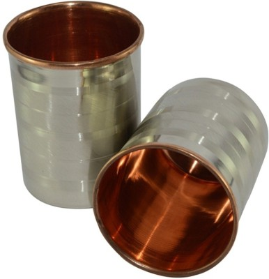 Copper Factory Glass Set(250 ml, Silver, Pack of 2)