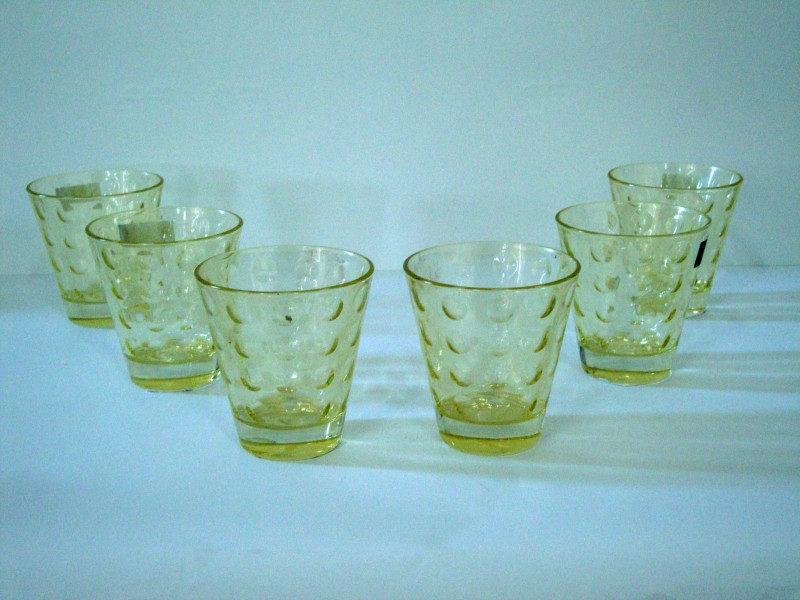 Foyer Glass Set(50 ml, Yellow, Pack of 6)