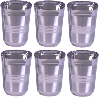 Dynore Set Of 6 Matt Lines Glass Set(1500 ml, Steel, Pack of 6)