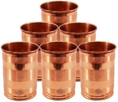 Indian Art Villa Glass Set(200 ml, Brown, Pack of 6)