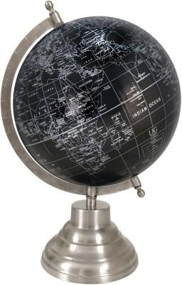 Globeskart Designer Black Silver with Antique Satin Finish Stand Desk & Table Top Political World Globe