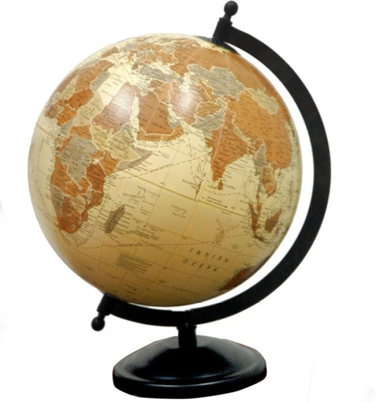 Cart4Craft Antique Look Brown Color Desk & Table Top Political World Globe(Medium Brown)