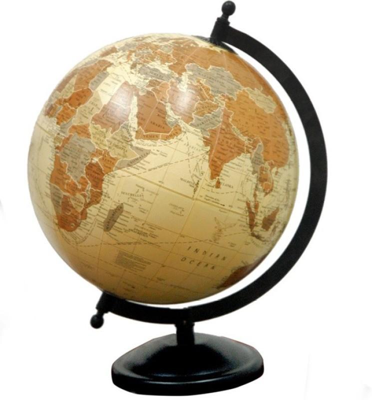 Cart4Craft Antique Look Brown Color Desk & Table Top Political World Globe(Medium Brown)