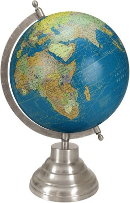 Globeskart Designer Royal Blue with Antique Silver Finish Stand Desk & Table Top Political World Globe
