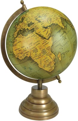 Globeskart Designer Olive Green gold with Antique Brass Finish Stand Desk & Table Top Political World Globe(Medium Olive Green)