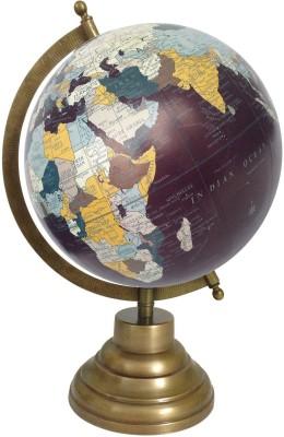 Globeskart Designer Midnight Indigo with Antique Brass Finish Stand Desk & Table Top Political World Globe