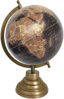 Globeskart Designer Black Multicolour Brown with Antique Brass Finish Stand Desk & Table Top Political World Globe