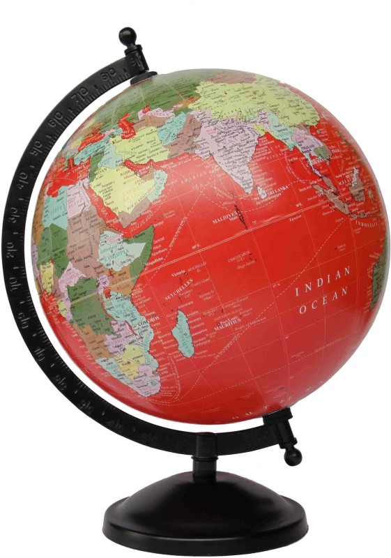 Vira 8 Inch Mat Finish With Metal Base Desk & Table Top Political World Globe(Medium Red)