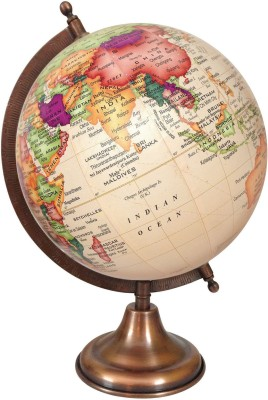 Globeskart Designer Cream Multicolour Contour with Antique Copper Finish Stand D Political World Globe(Medium Cream)
