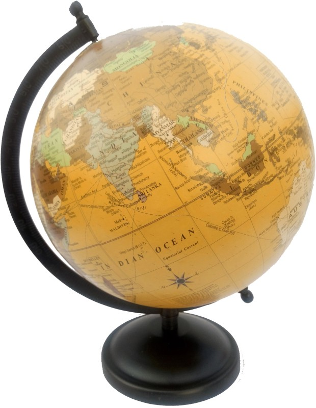 Efficient Metal Base Desk and Table Top Political World Globe(Medium Yellow)