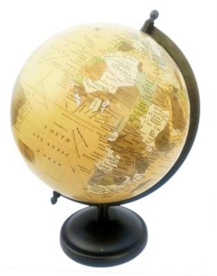 Vira Light Yellow Matte Finish With Metal base Desk & Table Top Political World Globe