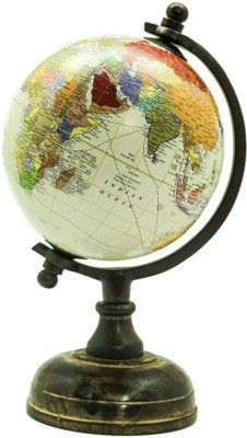 Casa Decor Wooden Finish Globe Political World Globe(Medium White)