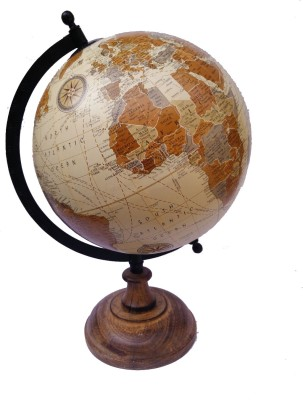 Cart4Craft Antique Look Cream Ocean With Wooden Stand Desk & table Top Political World Globe