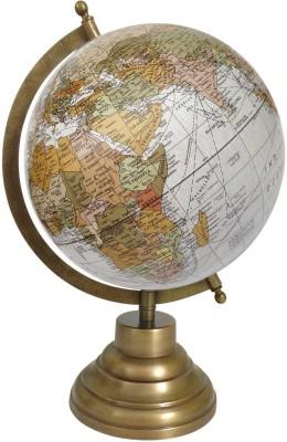 Globeskart Designer Ruff Off White Multicolour with Brass Finish Stand Desk & Table Top Political World Globe