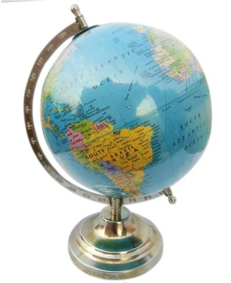 Cart4Craft Blue With Multicolored Ocean Desk & Table Top Political World Globe