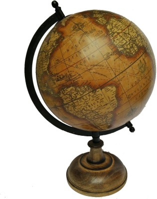 Cart4Craft Antique Look Brown Ocean with wooden Stand Desk & Table Top Political World Globe