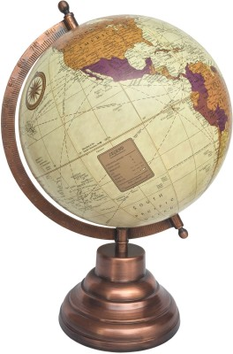 Globeskart Cream Multicolour Purple with Antique Copper Stand Desk and Table Top Political World Globe
