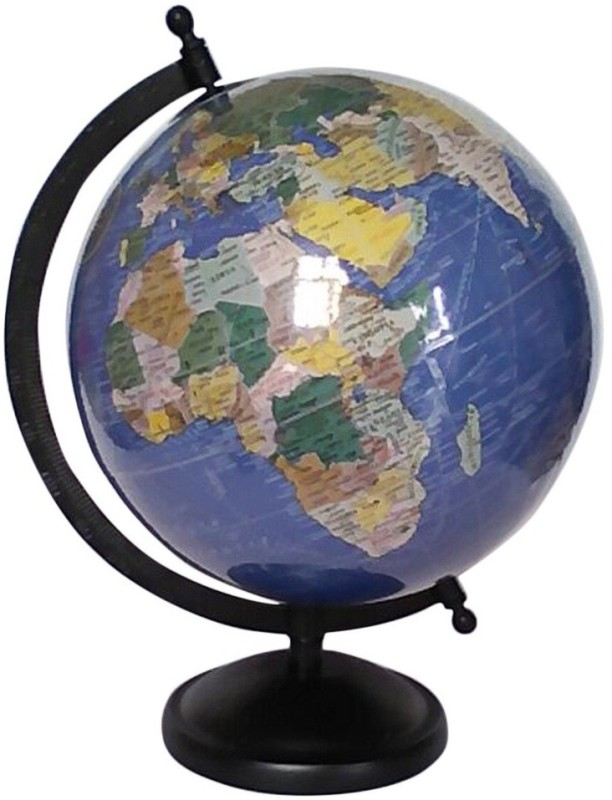 Globecraft Dark Blue Ocean With Multicolor Desk & Table Top Politcal World Globe(Medium Dark Blue)