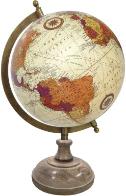 Globeskart Designer Cream Multicolour with Wooden Base and Brass Finish Arc Desk & Table Top Political World Globe