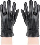 Bonjour PU Leather Gloves Solid Winter M...