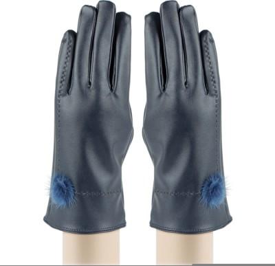 Bonjour PU Leather Self Design Winter Women's Gloves