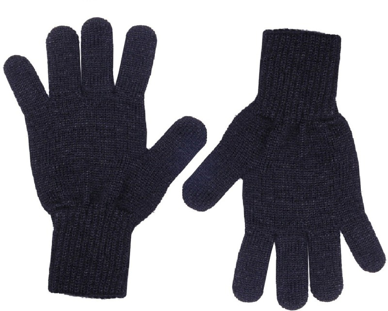 Gajraj Sparkling Black Solid Winter Women's Gloves
