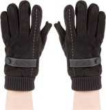 Bonjour Rib and suede Gloves Solid Winte...