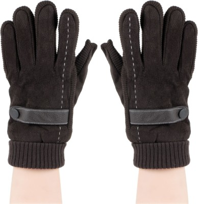 Bonjour Rib and suede Gloves Solid Winter Men's Gloves
