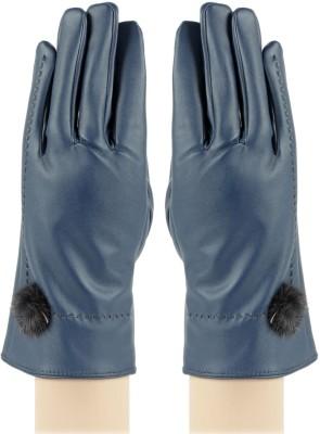 Bonjour PU Leather Gloves Self Design Winter Women's Gloves