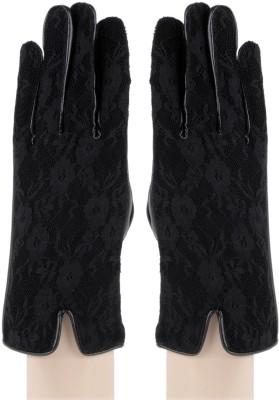 Bonjour Net & PU Leather Gloves Self Design Winter Women's Gloves