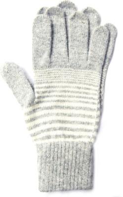 The Modern Knitting Shop Blended Angora Wool Striped Winter Men's Gloves