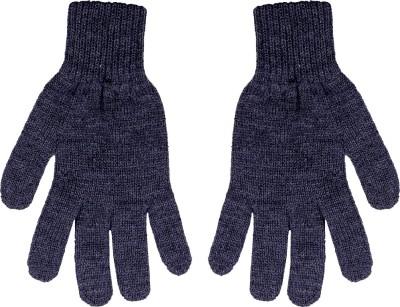 Gajraj Medium Grey Solid Winter Men's Gloves