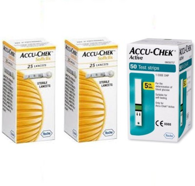 ACCU-CHEK Active 50 Strips with 2 Packs of 25 Lancets Glucometer