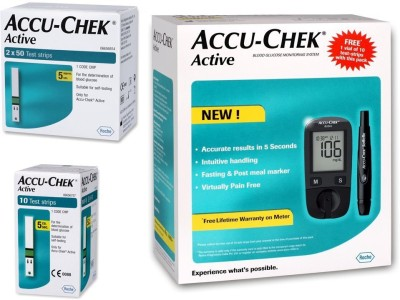 ACCU-CHEK Active Glucose Monitor with 100 Strips Glucometer(Black)