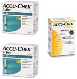 Accu-Chek Active 200 Strips & 200 Soft Clix Lancets Glucometer