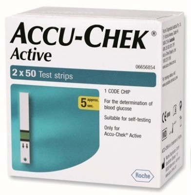 ACCU-CHEK Active 100 Strips Pack Only For Glucometer