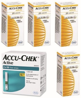 ACCU-CHEK Active 100 Strips & 4 Packs of 25 Lancets Glucometer