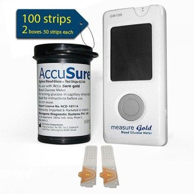 AccuSure lifespan measure gold glucose meter with 100 strips Glucometer