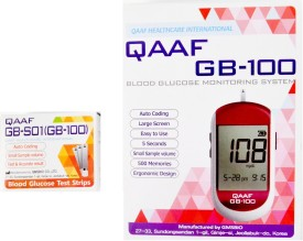 Qaaf Glucometer Combo Kit - Qaaf GB-100 Meter & Qaaf GB-S01 Blood Glucose Test Strips (100) Glucometer(White & Red)