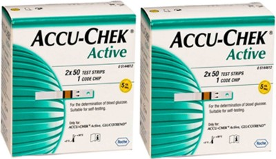 ACCU-CHEK Active Test Strip 100(Pack of 2) Glucometer