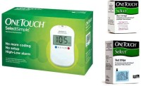 Johnson & Johnson One Touch Select Glucose Monitor with 60 Strips Glucometer(White)