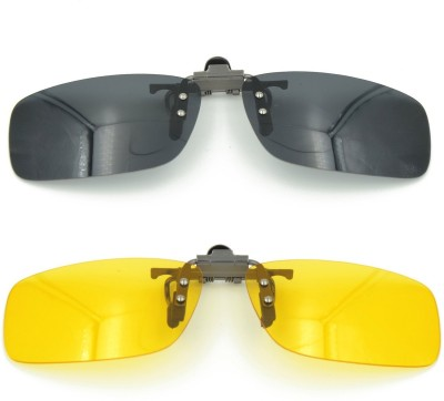 Enem Pair of Day & Night Vision Polarized Clip-on Flip-up Aviator Style Driving Cycling Goggles