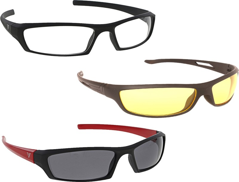 Vast New Day & Night Vision Driving Plus Summer Special (Yellow,White,Grey) COMBO 3 Cycling Goggles(Multicolor)