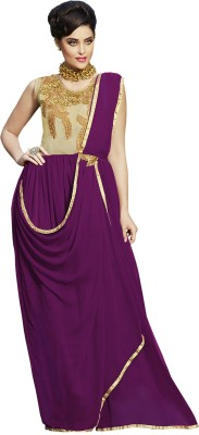 Khoobee Georgette Self Design, Embroidered Semi-stitched Gown