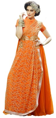 Khoobee Georgette, Jacquard Self Design, Embroidered Semi-stitched Gown