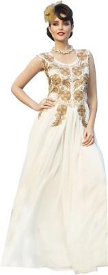Parisha Georgette Self Design, Embroidered Semi-stitched Gown