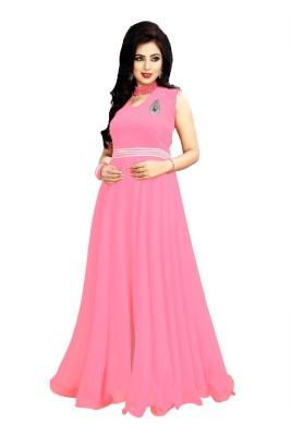 Navyata Creation Velvet, Georgette Self Design Dress/Top Material