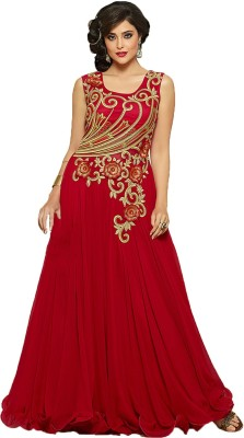 Shree Creation Net Embroidered Semi-stitched Gown & Waistcoat Material