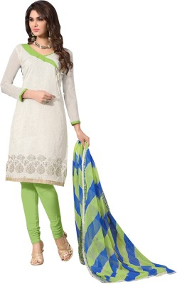 Sitaram Creation Cotton Silk Blend Embroidered Semi-stitched Gown & Waistcoat Material