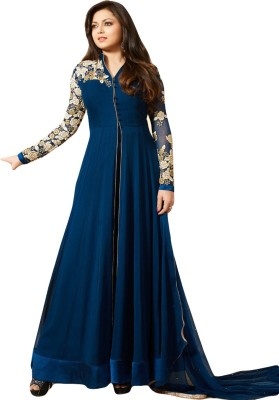 Sitaram Creation Georgette Embroidered Semi-stitched Gown & Waistcoat Material